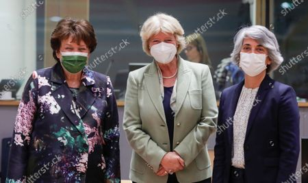 (L-R) French Culture Minister Roselyne Bachelot, German Culture Minister Monika Gruetters and Portuguese Culture Minister Graca Fonseca at the start of a European Culture ministers council in Brussels, Belgium, 18 May 2021.