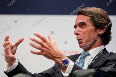 Former Spanish Prime Minister Jose Maria Aznar gestures as he is interviewed during the second day of 4th CEAPI Ibero-American Congress for companies leaders and entrepreneur families in Madrid, Spain, 18 May 2021.
