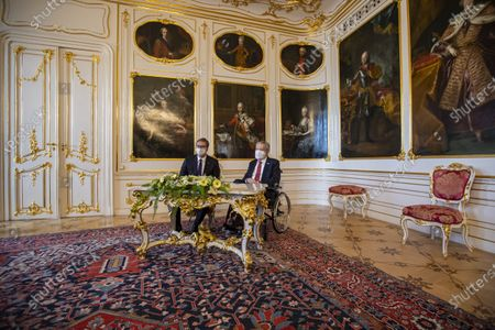 Czech President Milos Zeman (R) and Serbian President Aleksandar Vucic (L) pose for photographers prior their meeting at Prague Castle in Prague, Czech Republic, 18 May 2021. Vucic is on three-day state visit to Czech Republic.