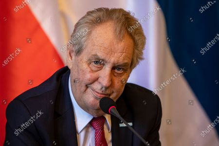 Czech President Milos Zeman talks to media at press conference after meeting with Serbian President Aleksandar Vucic at Prague Castle in Prague, Czech Republic, 18 May 2021. Vucic is on three-day state visit to Czech Republic.