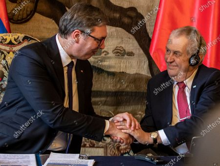 Czech President Milos Zeman (R) and Serbian President Aleksandar Vucic (L) shake hands after their press conference at Prague Castle in Prague, Czech Republic, 18 May 2021. Vucic is on three-day state visit to Czech Republic.