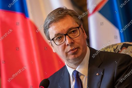 Serbian President Aleksandar Vucic talks to media at press conference after meeting with Czech President Milos Zeman at Prague Castle in Prague, Czech Republic, 18 May 2021. Vucic is on three-day state visit to Czech Republic.