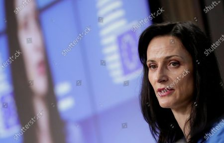 European Commissioner for Innovation and Youth Mariya Gabriel speaks during a media conference after a meeting of European culture ministers at the European Council building in Brussels