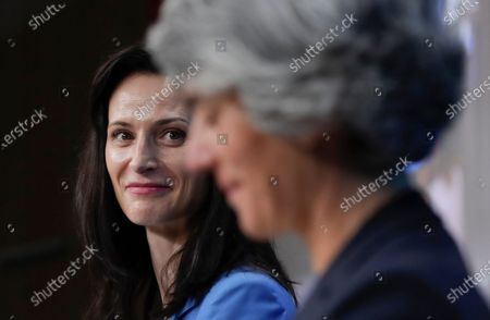 European Commissioner for Innovation and Youth Mariya Gabriel, left, speaks during a media conference after a meeting of European culture ministers at the European Council building in Brussels