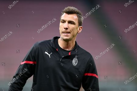Stock Image of Mario Mandzukic of AC Milan during warm up before the Serie A match between AC Milan and Cagliari Calcio.