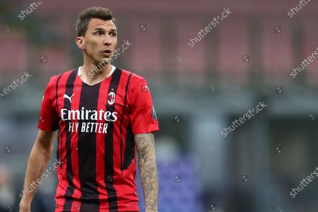 Mario Mandzukic of AC Milan looks on during the Serie A match between AC Milan and Cagliari Calcio.