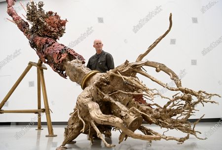 Stock Photo of U.S. artist Matthew Barney poses for photographers next to a  large scale copper, brass and stainless steel sculpture entitled 'Diana' during his major exhibition 'Redoubt' at the Hayward Gallery that is reopening as Covid-19 restrictions ease in London, Britain, 18 May 2021. Britain is easing some coronavirus restrictions allowing indoors locations such as pubs, museums, galleries, cinemas and adult group sports and exercise classes to reopen from 17 May. Also legal restrictions on meeting others outdoors are lifted. British Prime Minister Johnson hopes to be able to lift the majority of rules by 21 June.