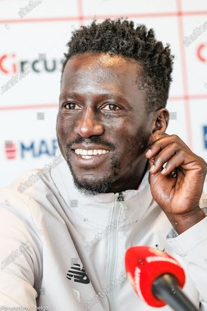 Standard's head coach Mbaye Leye pictured during a press conference of Belgian soccer team Standard de Liege, Tuesday 18 May 2021 in Liege, ahead of their next game in the Europe play-offs of the 'Jupiler Pro League' Belgian soccer championship.