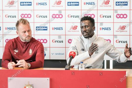 Standard's goalkeeper Jean-Francois Gillet and Standard's head coach Mbaye Leye pictured during a press conference of Belgian soccer team Standard de Liege, Tuesday 18 May 2021 in Liege, ahead of their next game in the Europe play-offs of the 'Jupiler Pro League' Belgian soccer championship.