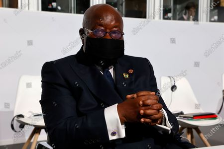 Ghana's President Nana Akufo-Addo poses before the opening session of the Summit on the Financing of African Economies in Paris, France, 18 May 2021.