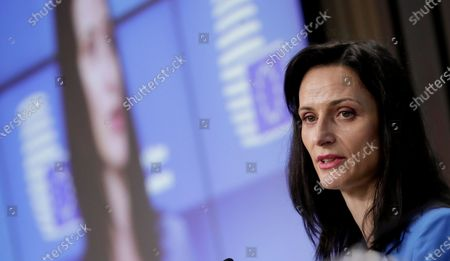 European Innovation Commissioner Mariya Gabriel during a press conference at the end of European Culture ministers council in Brussels, Belgium, 18 May 2021.