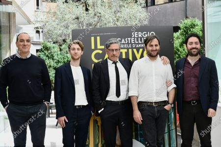 Stock Picture of Director Gianluca Jodice and cast : Francesco Patane', Sergio Castellitto, producers Andrea Paris and Matteo Rovere pose for the photocall of the movie 'Il cattivo poeta'