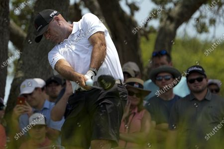 Stewart Cink hits his tee shot on the seventh hole during a practice round at the PGA Championship golf tournament on the Ocean Course, in Kiawah Island, S.C