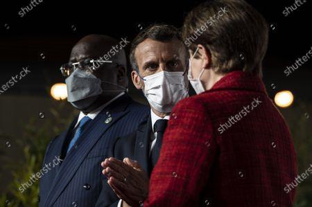 France's President Emmanuel Macron welcomes Senegal's President Macky Sall, French President Emmanuel Macron, Managing Director of the International Monetary Fund MFI Kristalina Georgieva