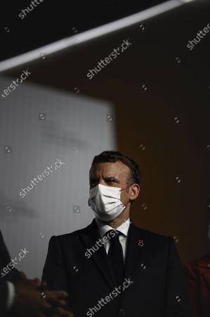 Stock Image of French President Emmanuel Macron speaks