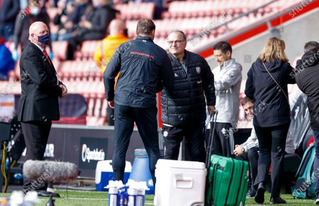 Southampton Manager Ralph Hasenhuttl and Leeds United Manager Marcelo Bielsa  during the Premier League match between Southampton and Leeds United at the St Mary's Stadium, Southampton
