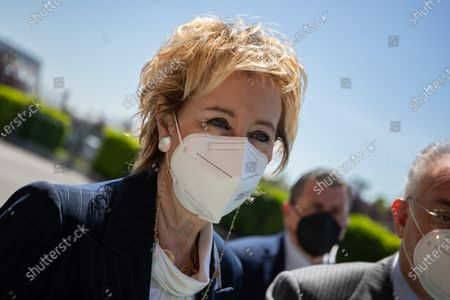 Stock Photo of Vice President of Lombardy Letizia Moratti speaks with journalist during the visit of President of Italy Sergio Mattarella (not in picture) at the hub vaccination center in Brescia, Italy on May 18, 2021.