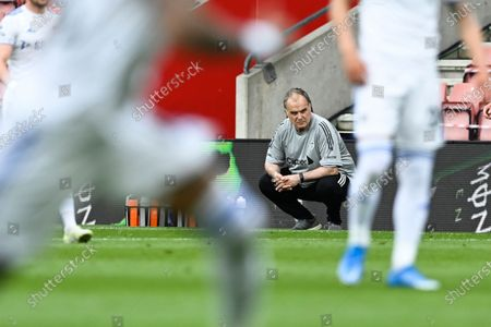 Leeds United's head coach Marcelo Bielsa watches the English Premier League soccer match between Southampton and Leeds United at St. Mary's Stadium in Southampton, England