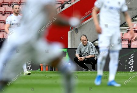 Leeds manager Marcelo Bielsa reacts during the English Premier League soccer match between Southampton FC and Leeds United in Southampton, Britain, 18 May 2021.