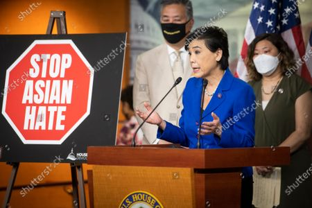 United States Representative Judy Chu (Democrat of California), center, is joined by United States Representative Mark Takano (Democrat of California), left, and United States Representative Grace Meng (Democrat of New York), right, as she offers remarks on the COVID-19 Hate Crimes Act during a press conference at the US Capitol in Washington, DC,.