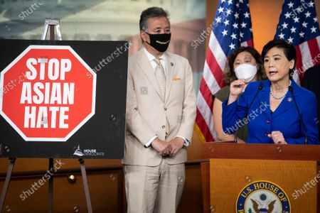 United States Representative Judy Chu (Democrat of California), right, is joined by United States Representative Mark Takano (Democrat of California), left, and United States Representative Grace Meng (Democrat of New York), center, as she offers remarks on the COVID-19 Hate Crimes Act during a press conference at the US Capitol in Washington, DC,.