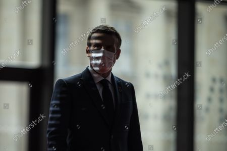 Stock Photo of French President Emmanuel Macron during a Summit on financing African economies in Paris on May 18, 2021.