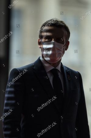 Stock Picture of French President Emmanuel Macron during a Summit on financing African economies in Paris on May 18, 2021.