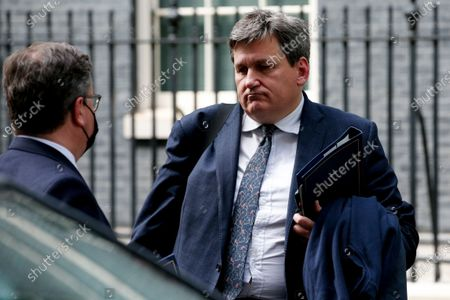 Minister for Crime and Policing Kit Malthouse (R), Conservative Party MP for North West Hampshire, speaks with Lord Chancellor and Secretary of State for Justice Robert Buckland (L), Conservative Party MP for South Swindon, outside 10 Downing Street in London, England, on May 18, 2021.