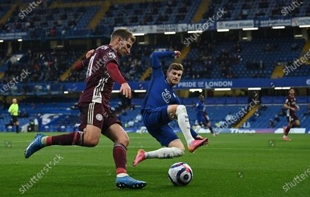 Stock Picture of Leicester's Marc Albrighton (L) in action against Chelsea's Timo Werner (R) during the English Premier League soccer match between Chelsea FC and Leicester City in London, Britain, 18 May 2021.