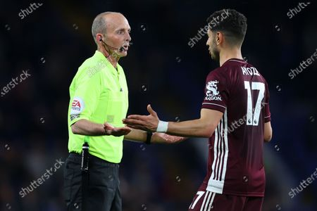 Stock Image of Referee Mike Dean (L) argues with Leicester's Ayoze Perez during the English Premier League soccer match between Chelsea FC and Leicester City in London, Britain, 18 May 2021.