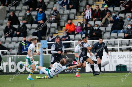 George Wacokecoke of Newcastle Falcons breaks through during the Gallagher Premiership match between Newcastle Falcons and Northampton Saints at Kingston Park, Newcastle on  17th May 2021.