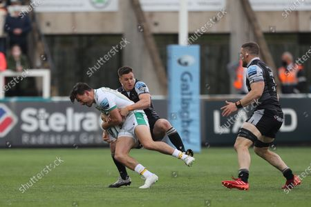 Newcastle Falcons's Louis Schreuder holds on to Northampton Saints' George Furbank  during the Gallagher Premiership match between Newcastle Falcons and Northampton Saints at Kingston Park, Newcastle on Monday 17th May 2021. (Credit: Mark Fletcher   MI News)