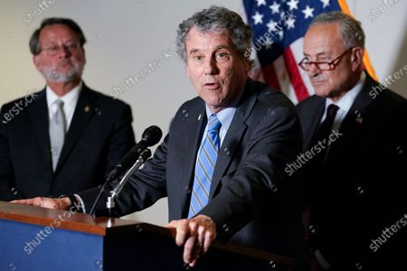 Sen. Sherrod Brown, D-Ohio, center, standing with Sen. Gary Peters., D-Mich., left, and Senate Majority Leader Chuck Schumer of N.Y., right, speaks on Capitol Hill in Washington