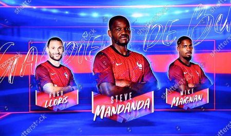 The portraits of France's goalkeeper Hugo Lloris (L), France's goalkeeper Steve Mandanda (C) and France's goalkeeper Mike Maignan (R) are displayed as France's head coach Didier Deschamps (unseen) announces the France's squad list for the UEFA Euro 2020 football tournament, on the TV set of French television channel TF1 in Boulogne Billancourt, on the outskirts of Paris, France, 18 May 2021.