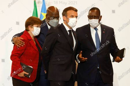 French President Emmanuel Macron (2nd R), International Monetary Fund (IMF) Managing Director Kristalina Georgieva (L), Senegal's President Macky Sall (R) and African Union President and President of Congo Democratic Republic Felix Tshisekedi (2nd L) gather after they held a joint press conderence at the end of the Summit on the Financing of African Economies in Paris, France, 18 May 2021.