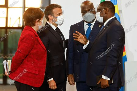 French President Emmanuel Macron (2nd L), International Monetary Fund (IMF) Managing Director Kristalina Georgieva (L), Senegal's President Macky Sall (R) and African Union President and President of Congo Democratic Republic Felix Tshisekedi (2nd R) gather after they held a joint press conderence at the end of the Summit on the Financing of African Economies in Paris, France, 18 May 2021.