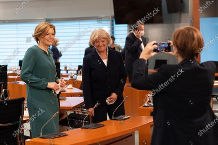 Agriculture and Consumer Protection Minister Julia Kloeckner (L) and Monika Gruetters (C), Federal Government Commissioner for Culture and Media, pose for a photo during for a weekly government cabinet meeting in Berlin, Germany, 19 May 2021.