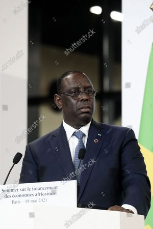 The President of Senegal, Macky Sall at the press conference following the plenary session of the Summit on Financing African Economies at Grand Palais Ephemere