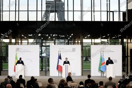 Stock Image of President of the Republic, Emmanuel Macron, The President of Senegal, Macky Sall, and The President of the African Union and President of the Democratic Republic of Congo, Felix Tshisekedi at the press conference following the plenary session of the Summit on Financing African Economies at the Grand Palais Ephemere, Paris, 18 May 2021 President Emmanuel Macron gives a press conference after the plenary session of the summit on financing African economies on may 18th 2021