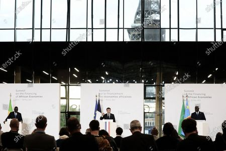 President of the Republic, Emmanuel Macron, The President of Senegal, Macky Sall, and The President of the African Union and President of the Democratic Republic of Congo, Felix Tshisekedi at the press conference following the plenary session of the Summit on Financing African Economies at the Grand Palais Ephemere, Paris, 18 May 2021 President Emmanuel Macron gives a press conference after the plenary session of the summit on financing African economies on may 18th 2021