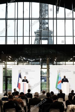 Editorial image of President Macron gives a press conference at the end of the plenary session of the summit on financing African economies, Paris, France - 18 May 2021