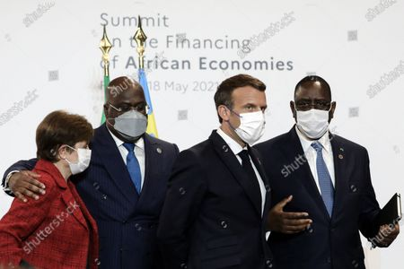 Editorial picture of President Macron gives a press conference at the end of the plenary session of the summit on financing African economies, Paris, France - 18 May 2021