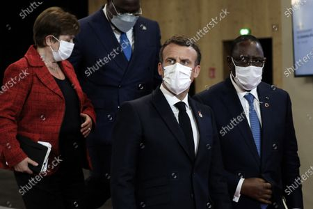 Editorial photo of President Macron gives a press conference at the end of the plenary session of the summit on financing African economies, Paris, France - 18 May 2021