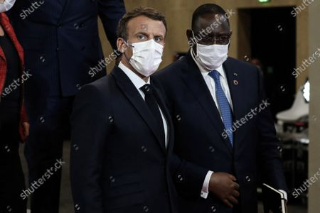 President of the Republic, Emmanuel Macron and President of Senegal, Macky Sall at the press conference following the plenary session of the Summit on Financing African Economies at the Grand Palais ephemere