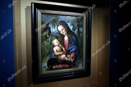 Stock Picture of A painting 'Madonna under the fir tree' by Lucas Cranach the Elder at the exhibition 'Wawel. Renaissance: Tapestries - Cranach - Crown Treasury' at the Wawel Royal Castle in Krakow, south Poland, 19 May 2021.