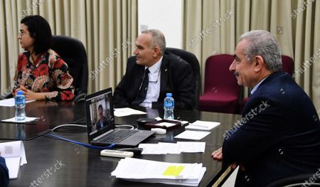 Editorial image of Palestinian Prime Minister Mohammed Ishtayeh meets with Facebook Head of Global Affairs and Communications Nick Clegg via video conference, Ramallah, West Bank, Palestinian Territory - 18 May 2021