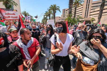 Editorial photo of Pro Palestine protest, Tunis, Tunisia - 19 May 2021