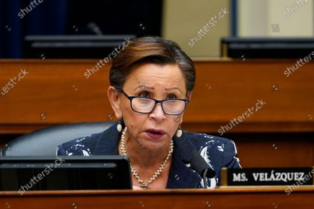 Stock Image of Rep. Nydia Velazquez, D-N.Y., speaks during a House Select Subcommittee on the Coronavirus Crisis hybrid hearing on Capitol Hill in Washington, . The hearing is examining Emergent BioSolutions, a Maryland biotech firm whose Baltimore plant ruined millions of doses of the coronavirus vaccine
