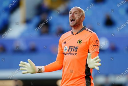 Wolverhampton Wanderers' goalkeeper John Ruddy gives instructions during the English Premier League soccer match between Everton and Wolverhampton Wanderers at Goodison Park stadium in Liverpool, England