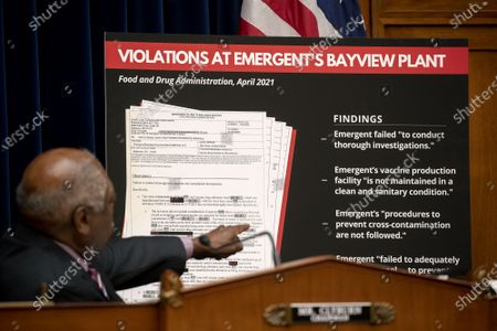 Representative Jim Clyburn (D-SC) points to a display during a House Select Subcommittee on the Coronavirus Crisis hearing in the Rayburn House Office Building on Capitol Hill in Washington, DC on Wednesday, May 19, 2021. The hearing will examine the actions that Emergent took that led to the destruction of millions of doses of Coronavirus vaccines.